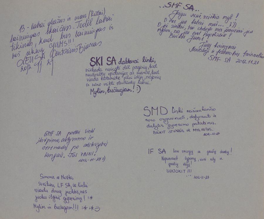 Iš Lituanistikos fakulteto studentų metraščių. 2012 m.