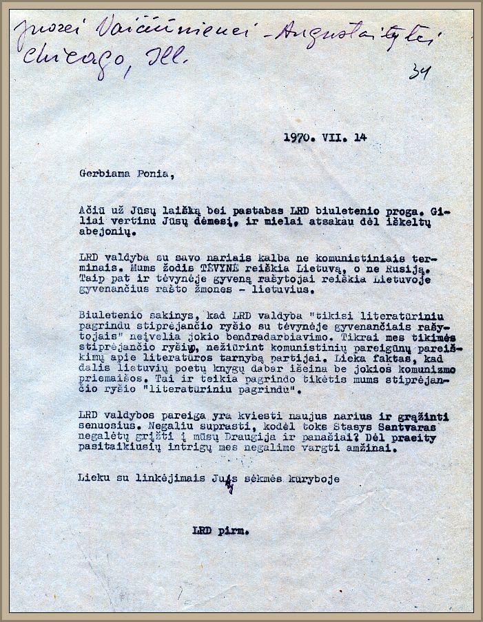L. Andriekaus atsakymas į J. L. Vaičiūnienės-Augustaitytės kritiką dėl ryšių stiprinimo su Lietuva, 1970 m. liepos 14 d.