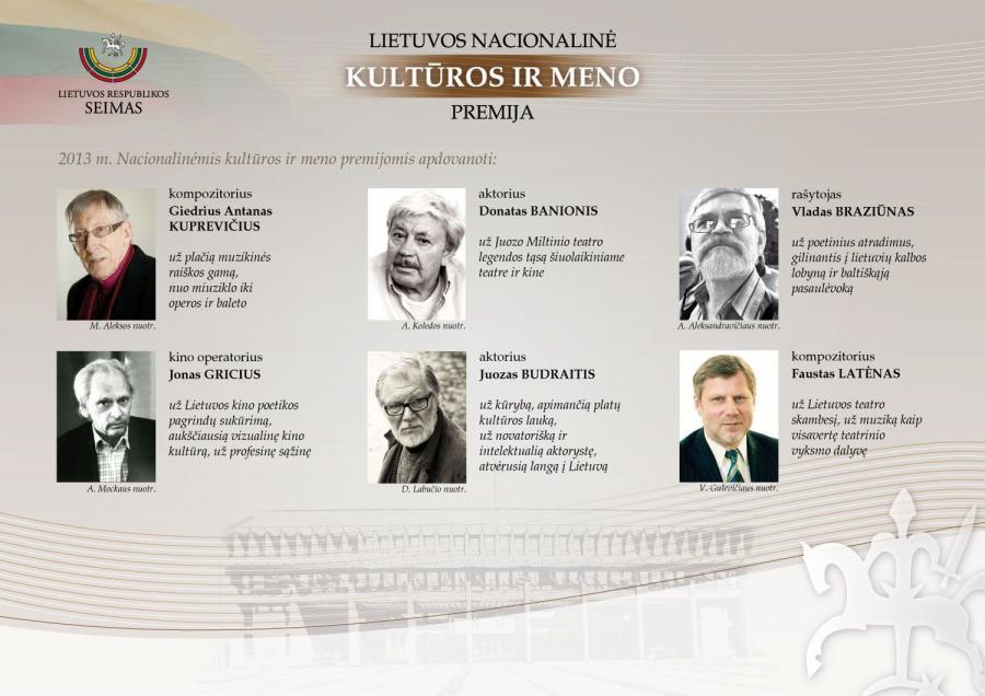2013 m. Lietuvos nacionalinės kultūros ir meno premijos laureatai.
