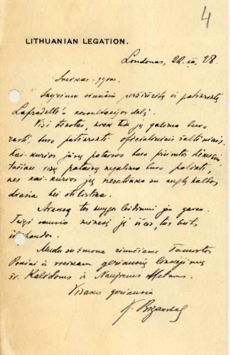 Lietuvos pasiuntinio Didžiojoje Britanijoje K. Bizausko laiškas P. Klimui. 1928 m., Londonas.<br />