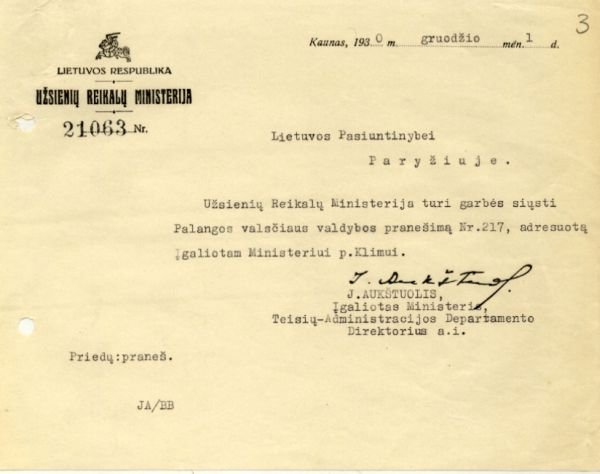 Įgalioto ministro, Teisės administracijos departamento dir. J. Aukštuolio laiškas P. Klimui. 1930 m., Kaunas.