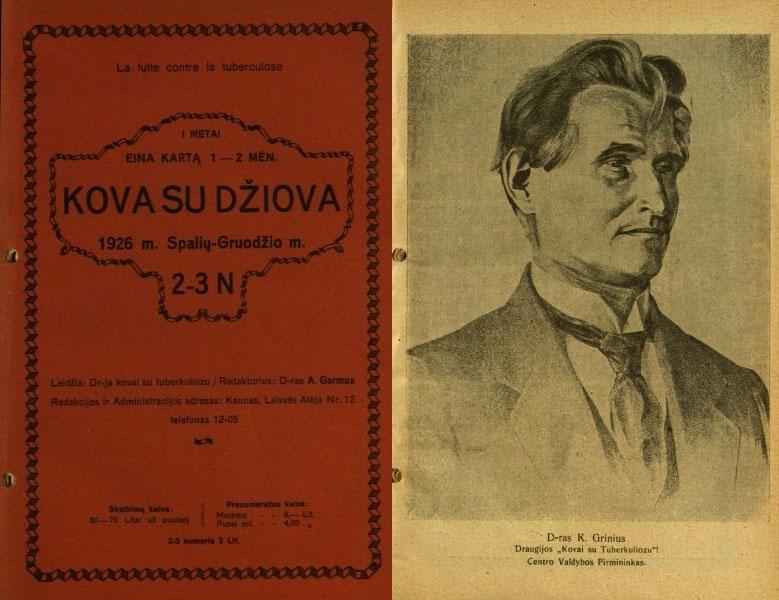 Dr. K. Grinius – kovos su tuberkuliozu Lietuvoje tėvas // Kova su džiova. 1926, nr. 2–3, p. 3–4.