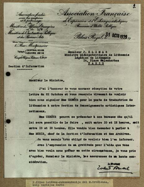 P. Klimo laiškas-rekomendacija dėl M. Urbšienės, kaip vertėjos darbo. 1929 m.