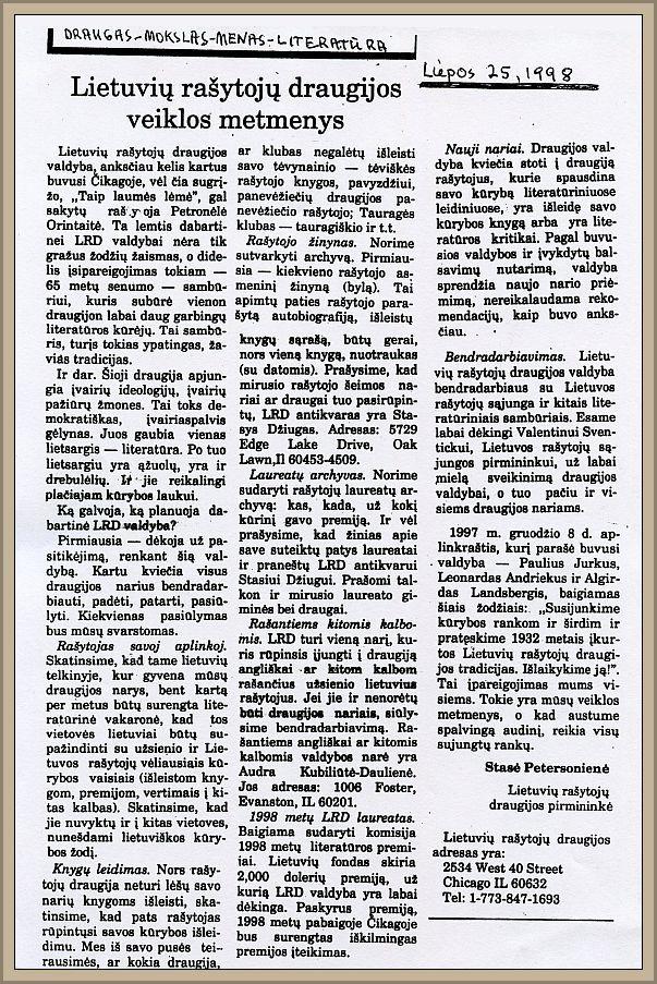 """Naujos LRD valdybos straipsnis """"Lietuvių rašytojų draugijos metmenys"""" laikraštyje """"Draugas"""", 1998 m. liepos 25 d."""