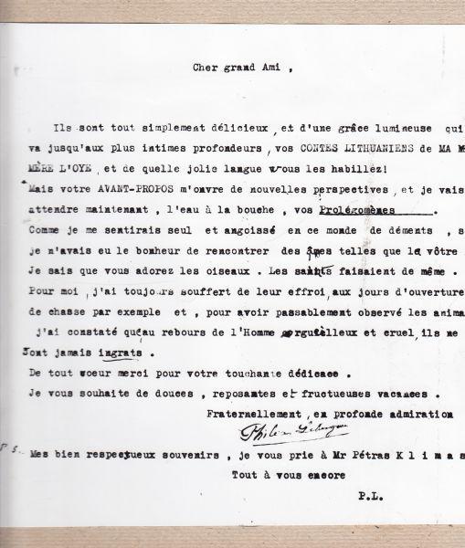 P. Klimo laiškas lietuvių poetui, diplomatui O. Milašiui.