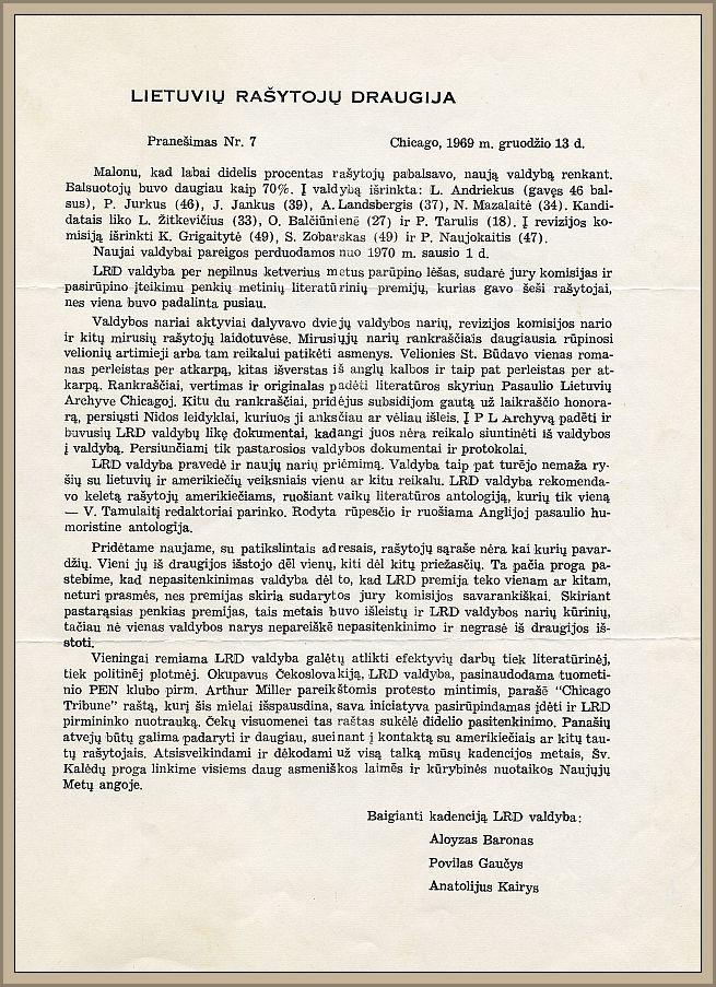 """Paskutinis, septintasis, A. Barono vadovaujamos valdybos biuletenis """"Pranešimas""""."""