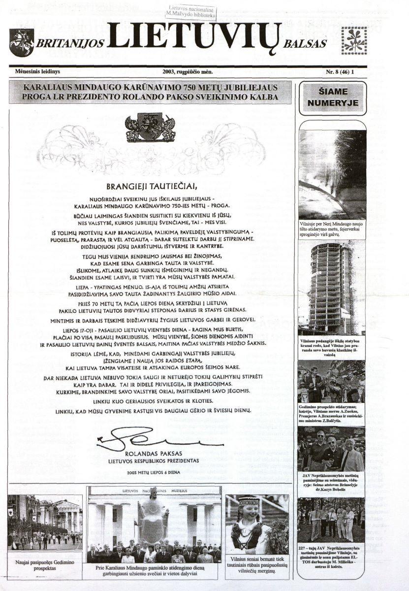 """""""Britanijos lietuvių balso"""" antraštinis puslapis. 2003 m. rugpjūtis, Nr. 8"""