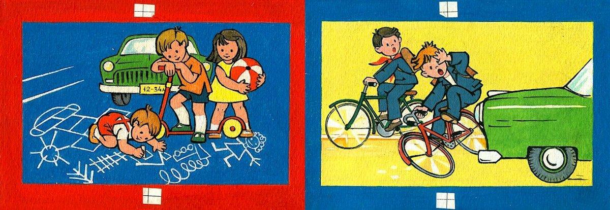 """Atvarto iliustracijų  maketas didaktinių paveikslėlių lankstinukui """"Ėjo vaikučiai į mokyklėlę"""". 1974. Popierius, akvarelė, tušas"""