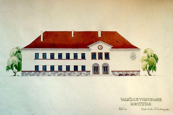 Valsčiaus vykdomasis komitetas. Projektas. 1947.  Popierius, akvarelė, pieštukas
