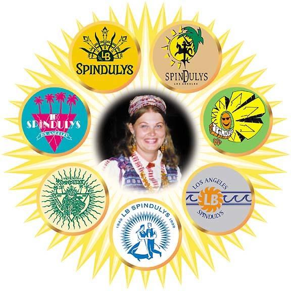 """Los Andželo lietuvių liaudies šokių ansamblio """"LB Spindulys"""" logotipai ir ansamblio vadovė Danguolė Razutytė-Varnienė."""