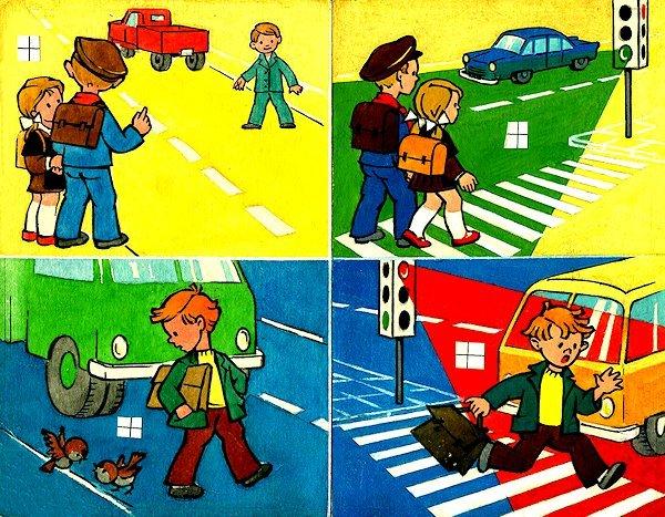 """Puslapio iliustracijų maketas didaktinių paveikslėlių lankstinukui """"Kelias į mokyklą"""". 1974. Popierius, akvarelė, tušas"""