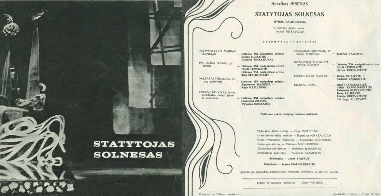"""Spektaklio """"Statytojas Solnesas"""" programa."""