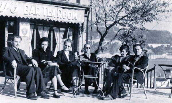 Iš kairės: Antanas ir Janina Liutkai, Bronė Klimienė, ponai Mackevičiai ir Pranas Dulevičius. 1946 m.