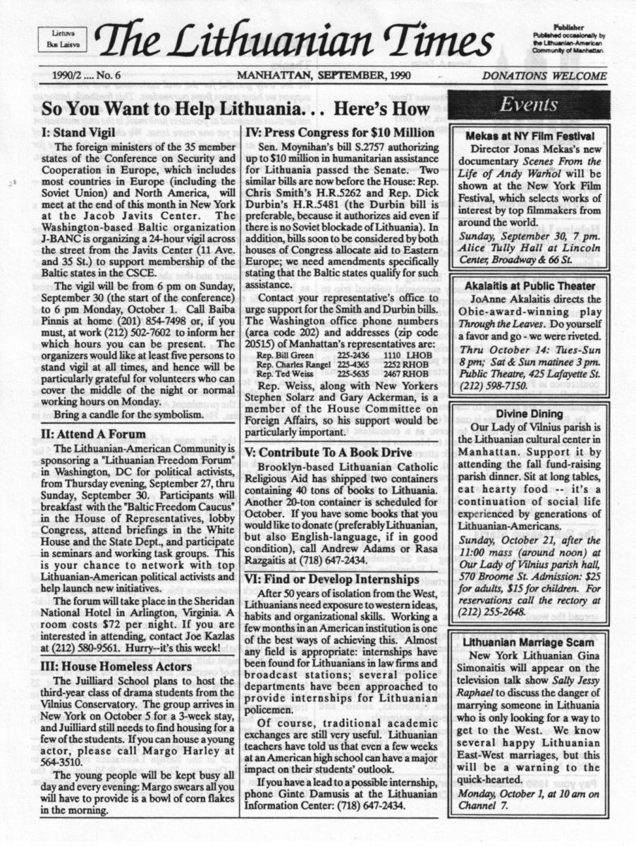 """The Lithuanian Times"" pirmas puslapis.  1990 m. rugsėjis, Nr. 6"