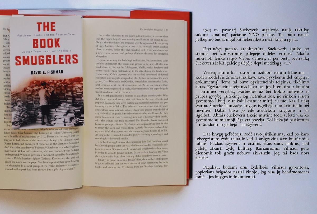 """Davido E. Fishmano monografija  """"The Book Smugglers"""" (""""Knygų kontrabandininkai""""), skirta Suckeverio ir kitų """"popieriaus brigados"""" narių pastangoms gelbėti žydų kultūros lobius nuo nacių Vilniaus gete ir po II Pasaulinio karo"""