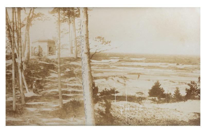 Jūra nuo Birutės kalno, Palanga (originalus fotomontažas), maždaug XIX a. 10-asis dešimtmetis.