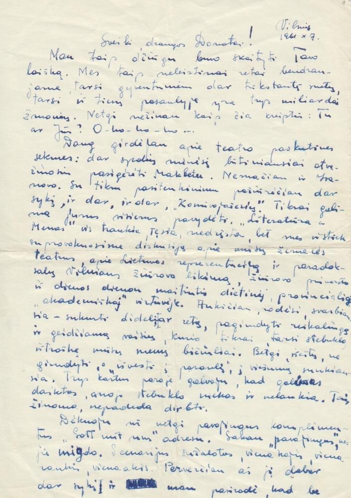 V. Žalakevičiaus laiškas D. Banioniui. 1961 m. spalio 7 d.