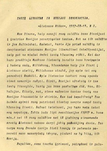 Klimas P. Tautų liuosybė ir Rusijos demokratija // Lietuvos aidas. 1917, rugsėjo 13, p. 1–2.