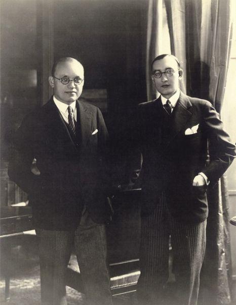 Diplomatai Petras Klimas (kairėje) ir Stasys Lozoraitis. 1937 m.
