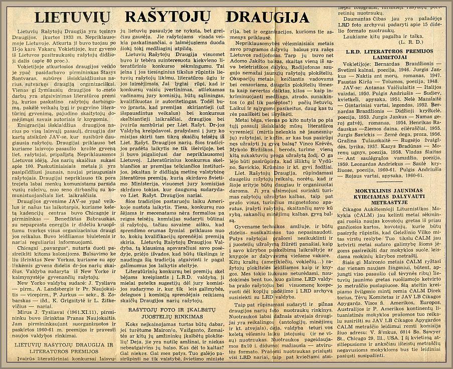 """LRD straipsnis """"Europos lietuvyje"""", nr. 5, 1963 m. sausio 29 d."""