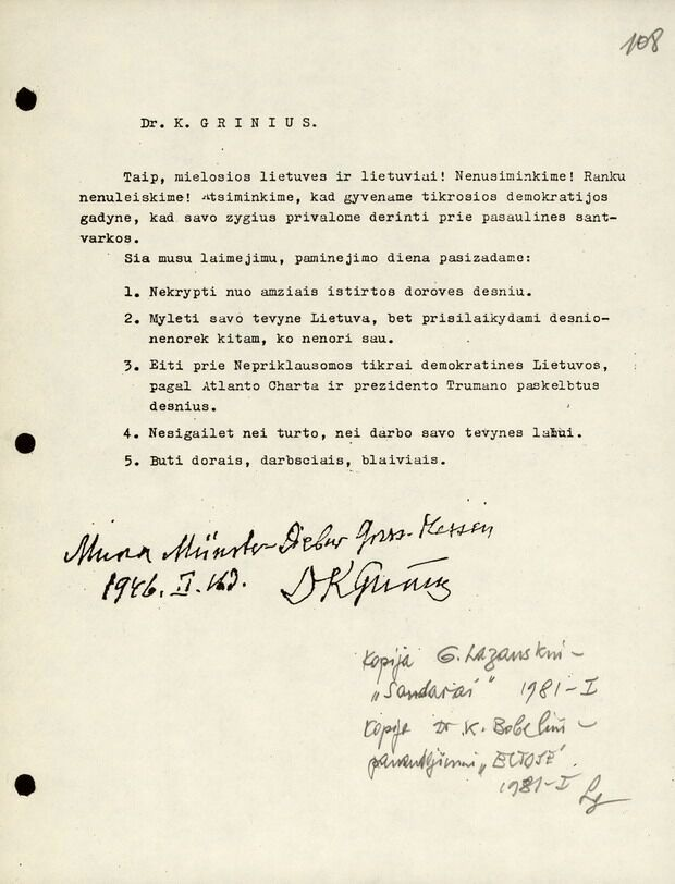 Dr. K. Griniaus kreipimasis į lietuvius. 1946 m. vasario 12 d.
