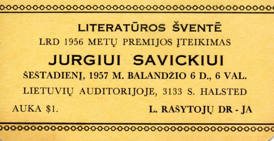 Skelbimas apie LRD 1956 metų premijos įteikimą Jurgiui Savickiui.