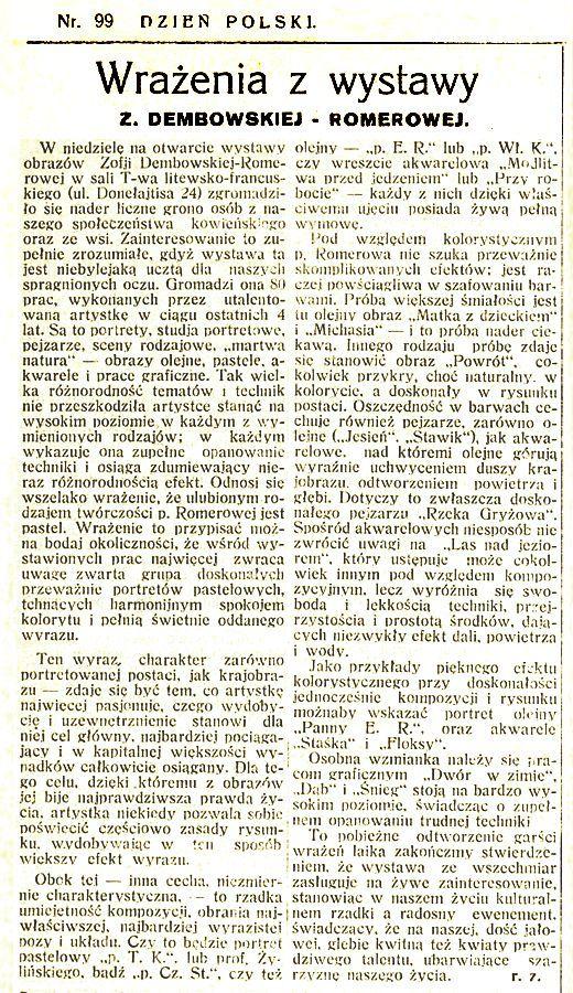 Wraźenia z wystawy Z. Dembowskiej-Romerowej // Dzień Polski. 1936, Nr. 99, s. 3.