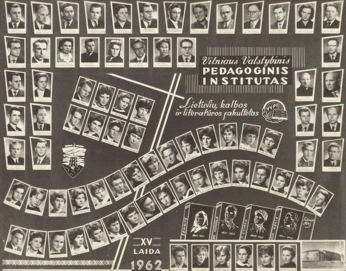 Tuomečio Vilniaus pedagoginio instituto Lietuvių kalbos ir literatūros fakulteto 15 absolventų laida. 1962 m.