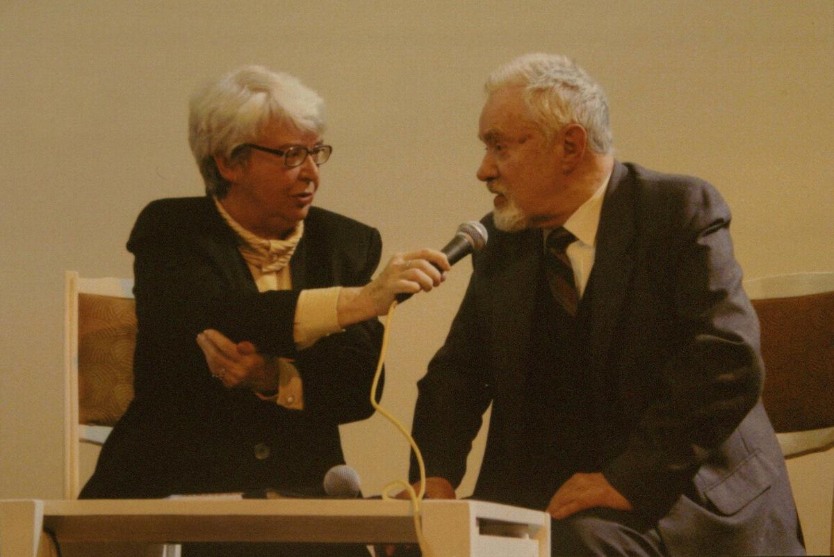 R. Geniušas su muzikologe O. Narbutiene