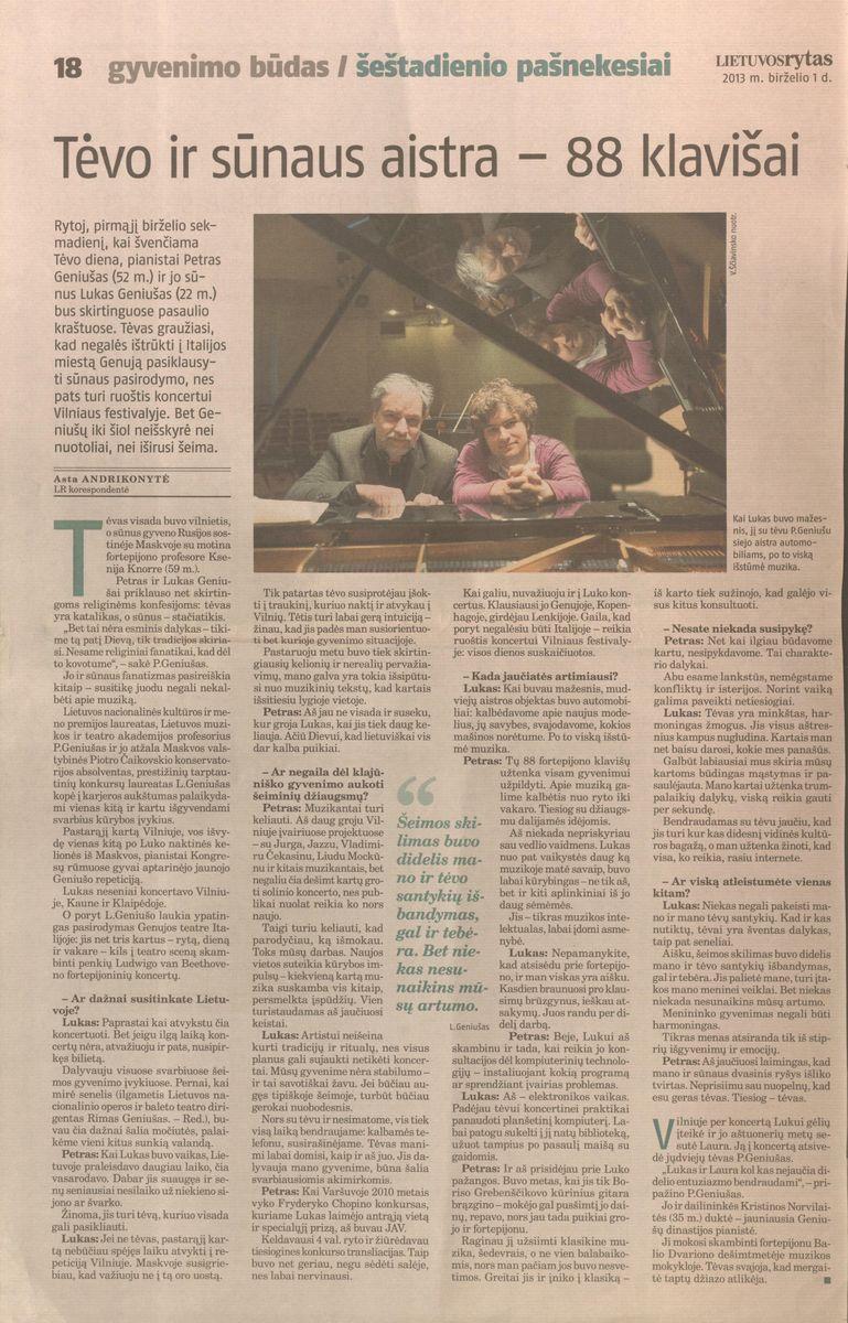 A. Andrikonytė. Tėvo ir sūnaus aistra - 88 klavišai. // Lietuvos rytas, 2013.06.01, p.18