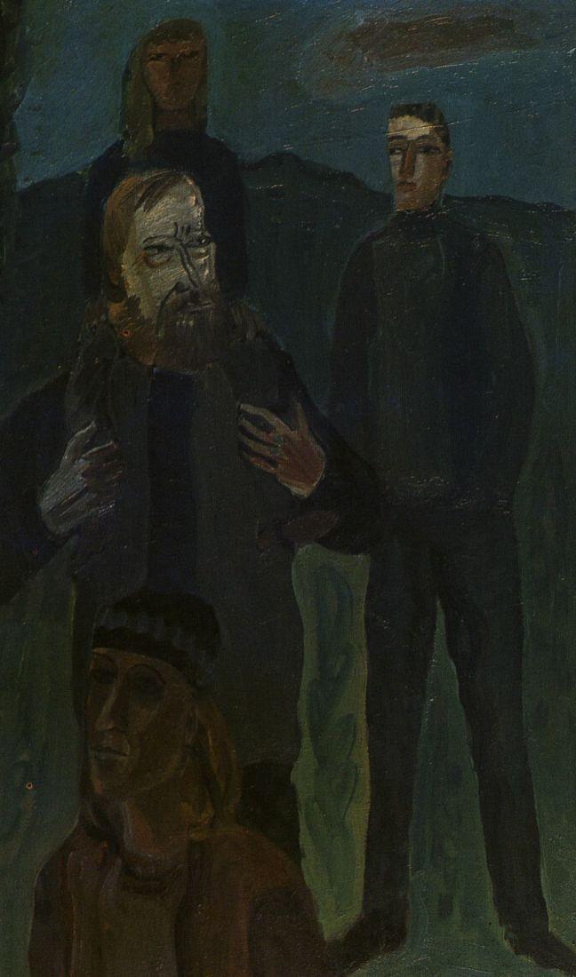 """""""Aktorius Juozas Budraitis su šeima"""". Drobė, aliejus: [reprod., spalv.]. 1984 m. Dailininkas A. Savickas."""