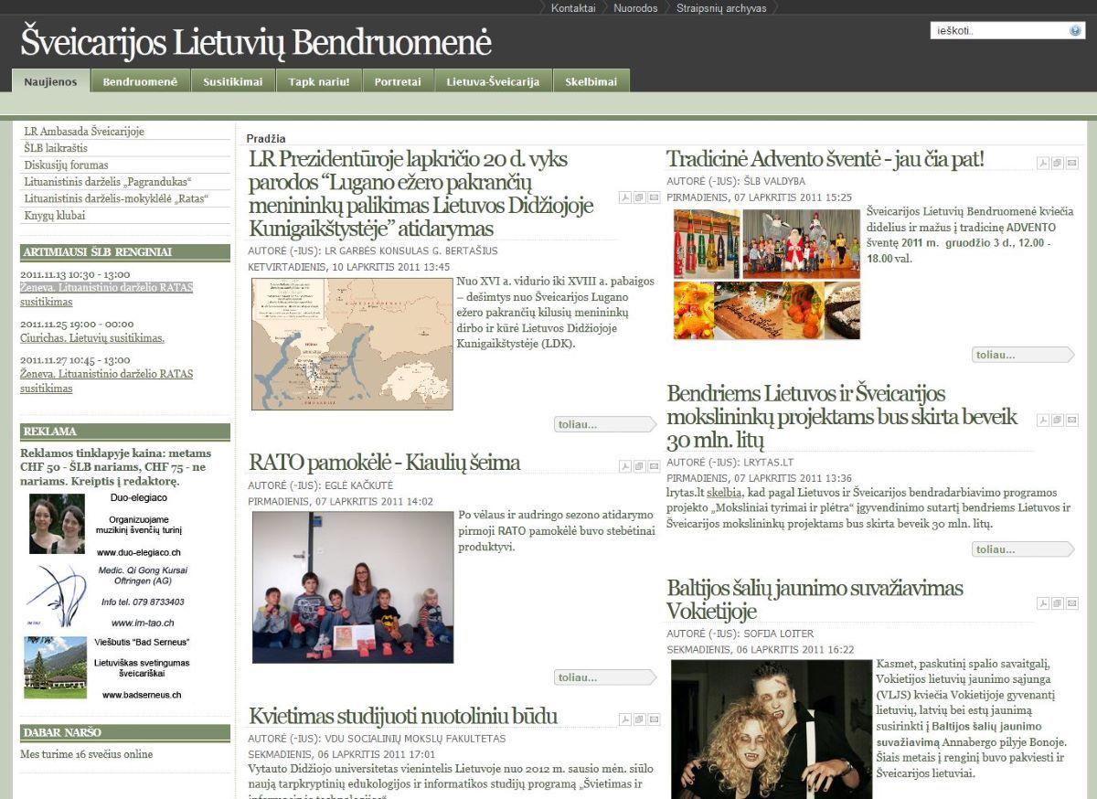 2008 m. Šveicarijos lietuvių bendruomenės svetainė buvo atnaujinta.