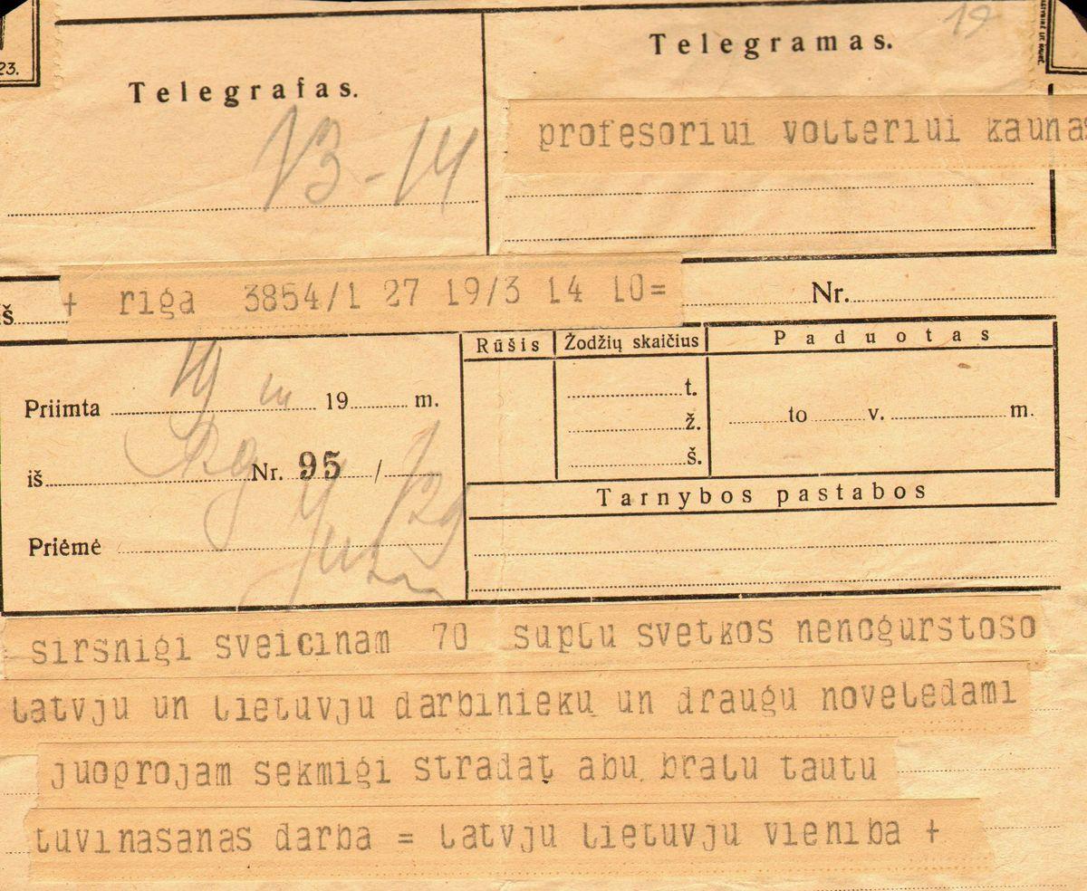 Latvių-lietuvių vienybės draugijos sveikinimo telegrama Eduardui Volteriui 70-ojo jubiliejaus proga. Ryga, 1926 kovo 19.