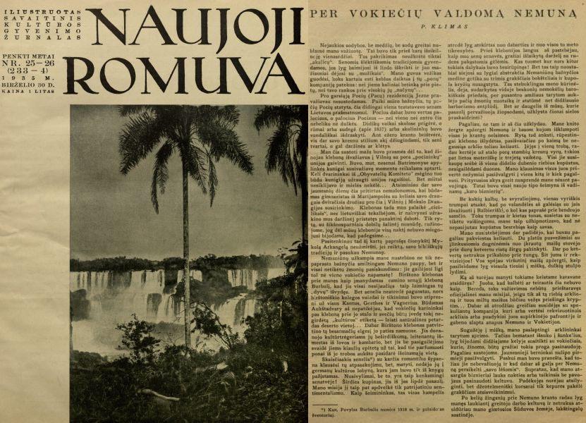 Klimas P. Per vokiečių valdomą Nemuną // Naujoji Romuva. 1935, nr. 25–26, p. 517–519.