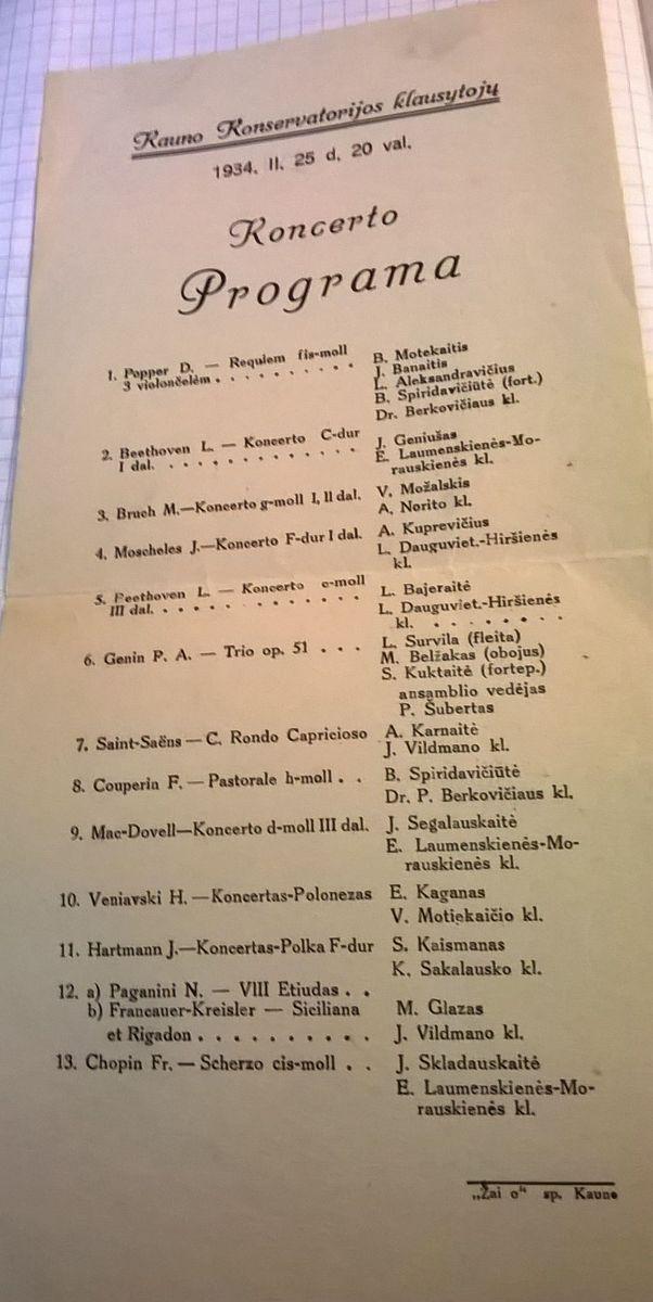 Kauno Konservatorijos klausytojų koncerto programa. 1934 m.