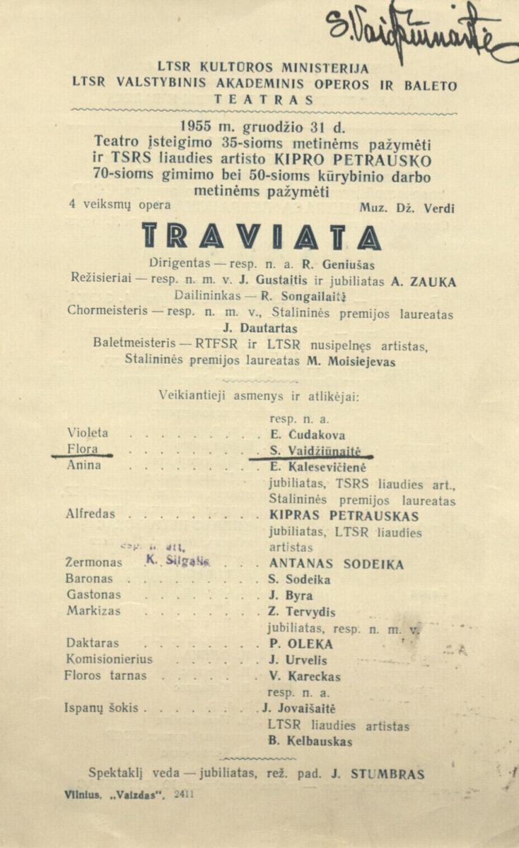 Traviata: Dž. Verdžio 4 veiksmų opera. [1955] m.