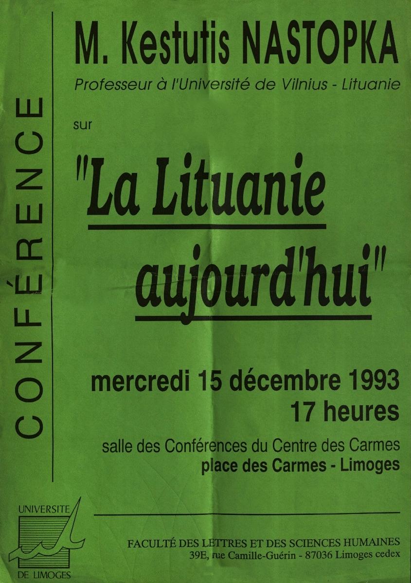 Tarptautinės konferencijos plakatas, 1993