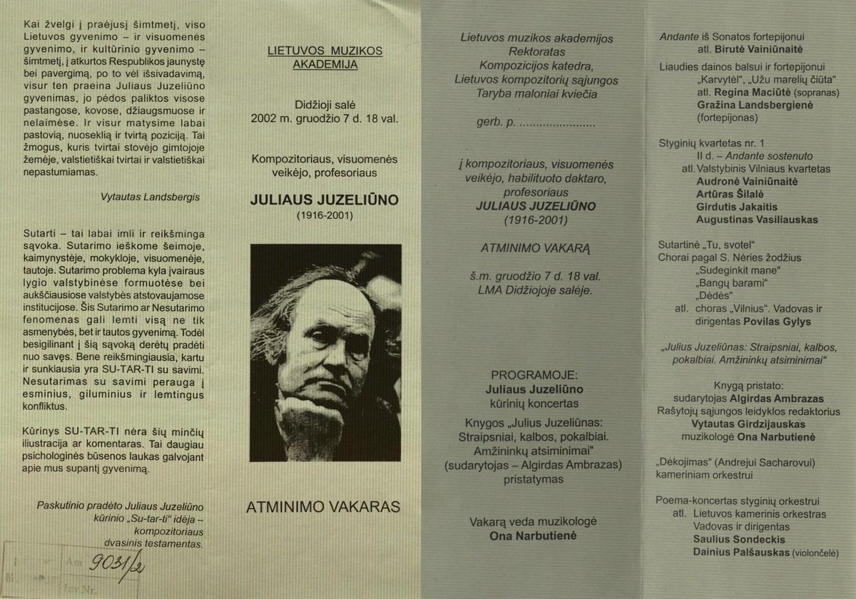 Juliaus Juzeliūno Atminimo vakaro programa. Vilnius, Lietuvos muzikos akademija, 2002 m.