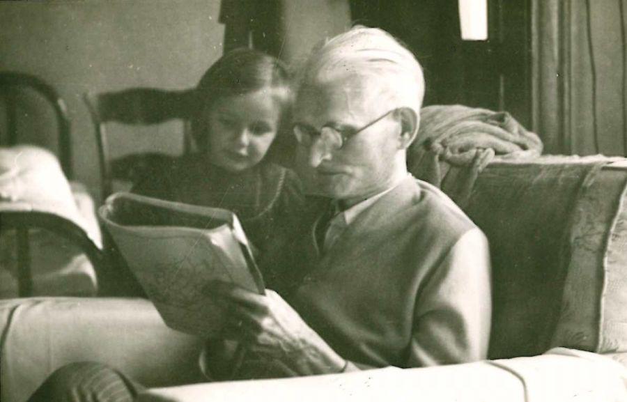 K. Grinus su pokario lietuvių emigrante Violeta Karalyte. Čikaga (JAV), 1949 m.