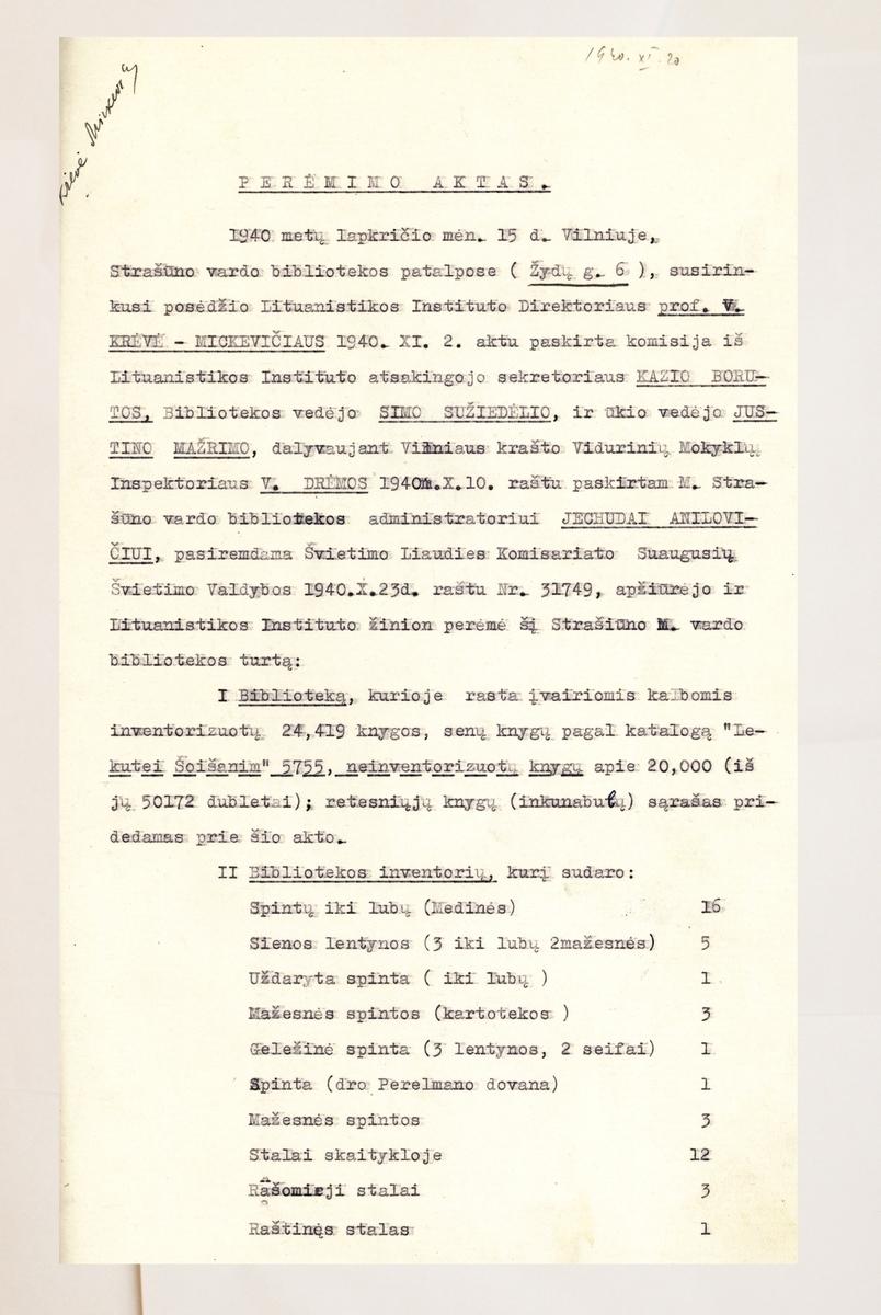 Vilniaus žydų bendruomenės likvidavimo ir Strašuno bibliotekos perdavimo Liaudies švietimo komisariato žinion byla. 1940 m. liepa–lapkritis. <br /> Lietuvos centrinis valstybės archyvas.