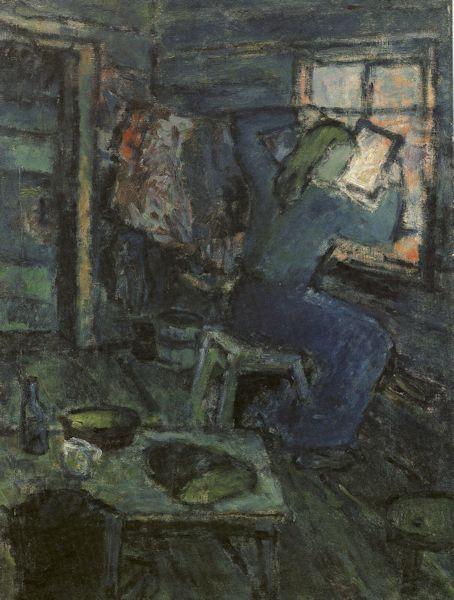 Moteris su veidrodžiu. 1943. Drobė, aliejus