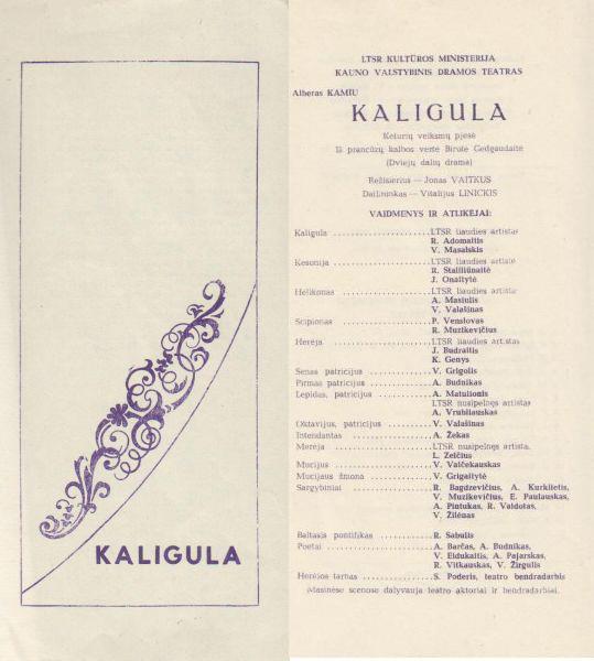 "Spektaklio ""Kaligula"" programa."