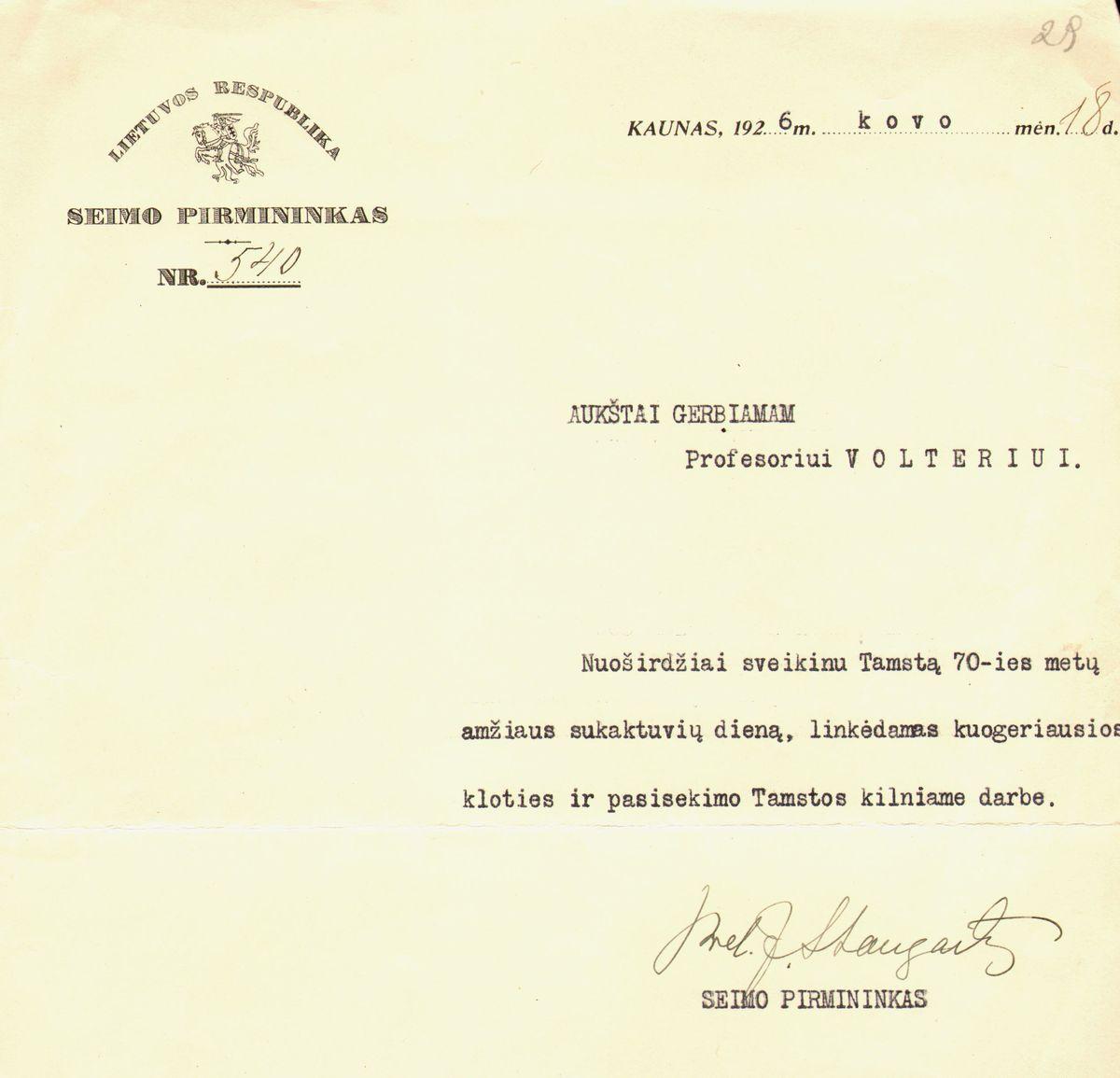 Seimo pirmininko Staugaicio_1926.jpg