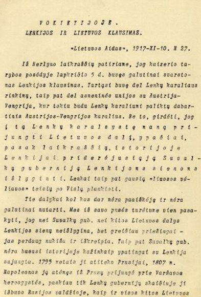 Klimas P. Vokietijoje Lenkijos ir Lietuvos klausimas // Lietuvos aidas. 1917, lapkričio 10, p. 2–3.