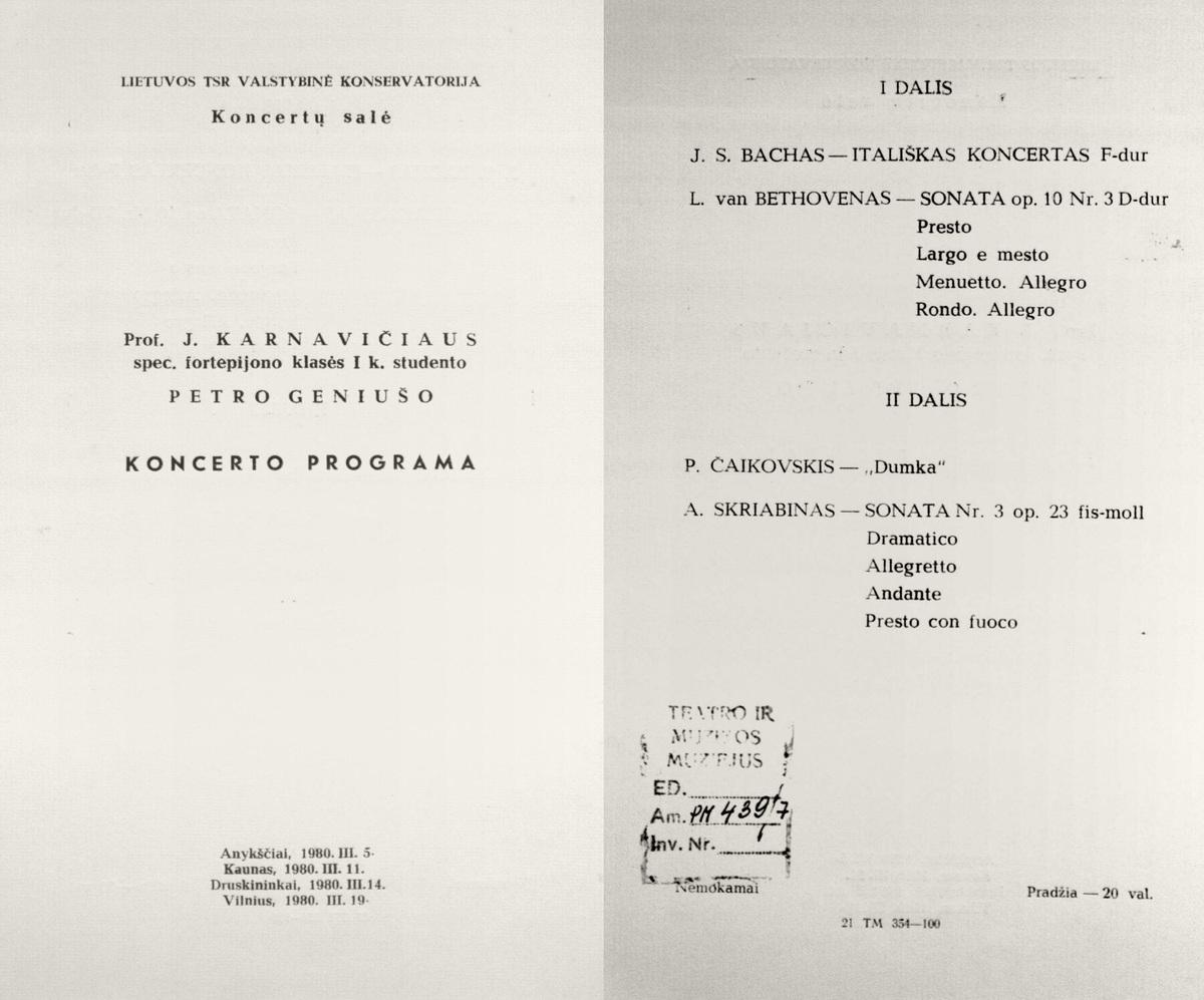 Prof. J. Karnavičiaus spec. Fortepijono klasės I k. studento Petro Geniušo koncerto programa. 1980 m.