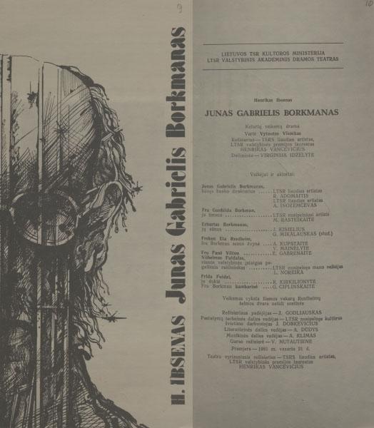 """Spektaklio """"Junas Gabrielis Borkmanas"""" programa."""