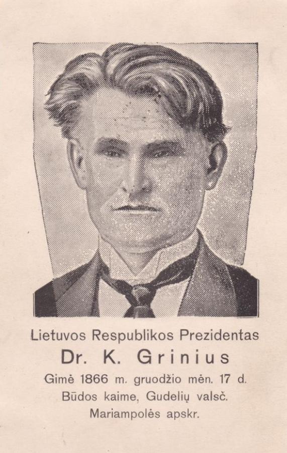 Atvirukas su K. Griniaus atvaizdu. 1926 m.