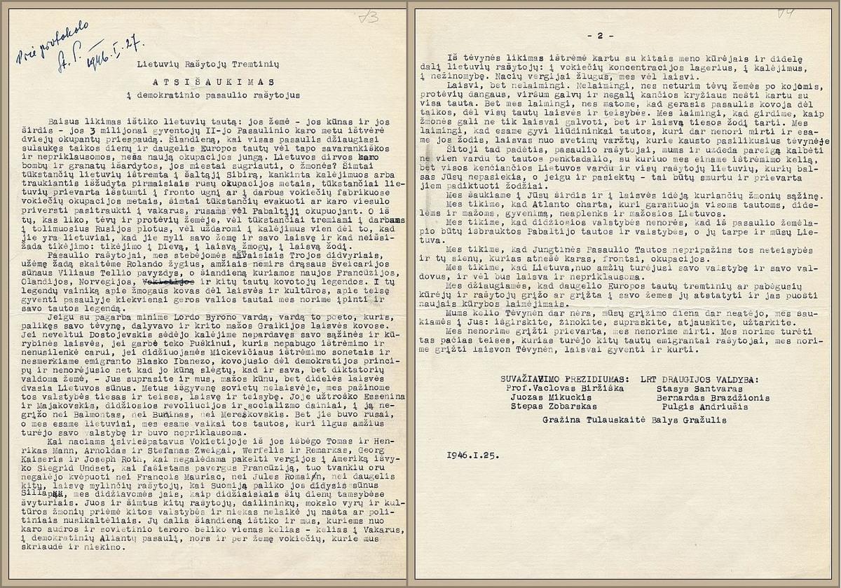 Lietuvių Rašytojų Tremtinių atsišaukimas į demokratinio pasaulio rašytojus, 1946 m. sausio 25–26 d.
