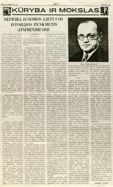 Jakštas J. Nepriklausomos Lietuvos istorijos penkmetis atsiminimuose // Dirva. 1979, gegužės 31, p. 5–6.