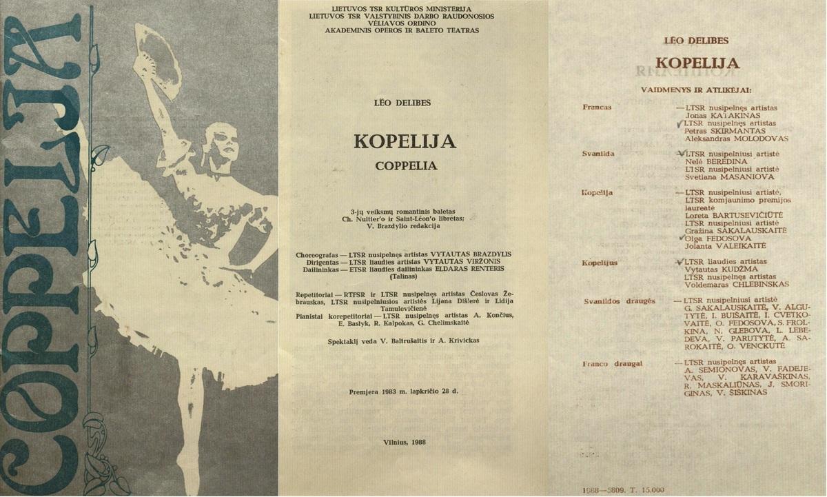 Kopelija : Léo Delibes. 3 veiksmų baletas. [Programa]. 1988 m.
